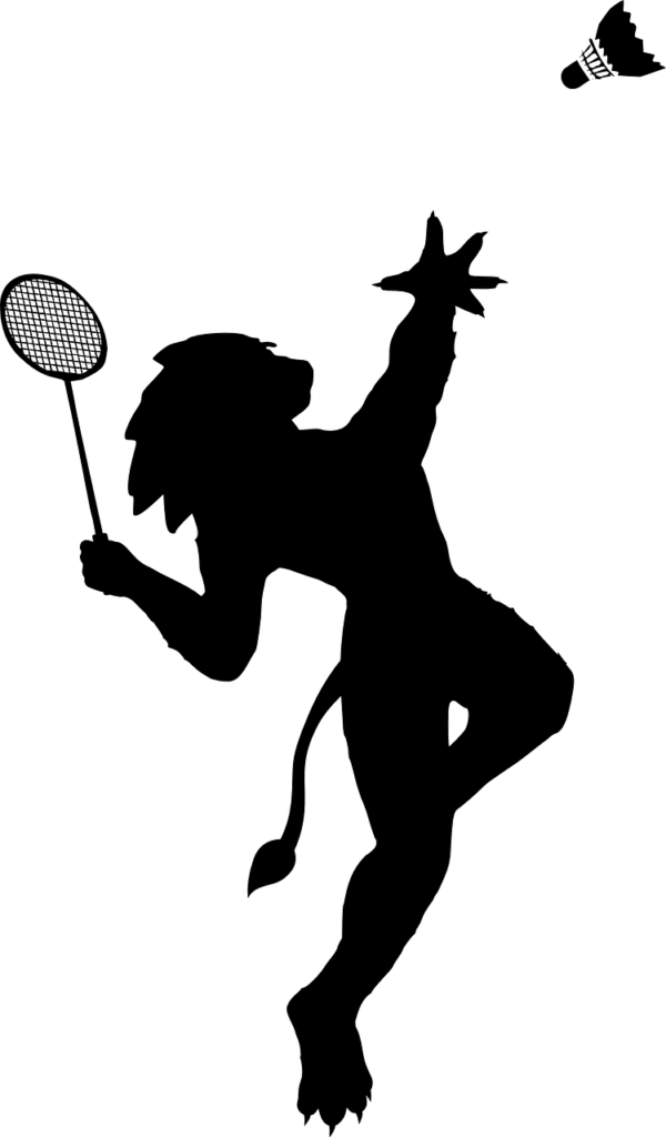 ombre jouant au badminton